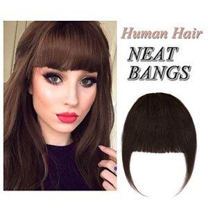 Dark Brown brunette clip in bangs hair extensions
